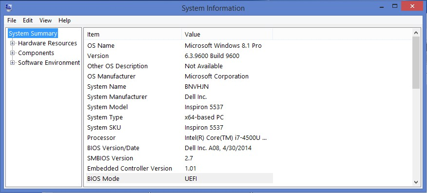 How to know if my computer is using UEFI or BIOS (legacy)